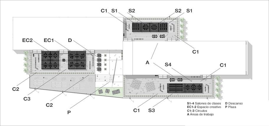 Plano del sitio de la escuela intermedia
